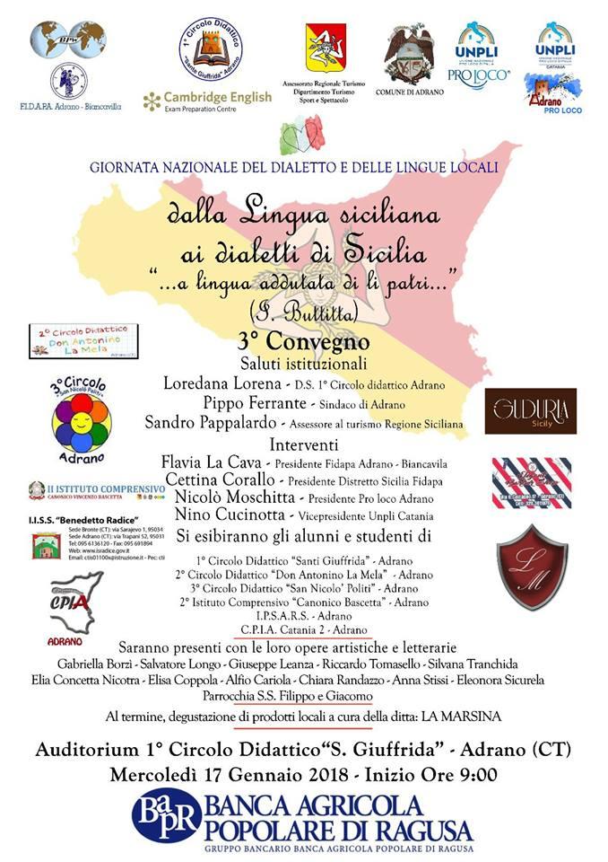 Poesie Di Natale In Dialetto Siciliano.Giornata Del Dialetto 2018 Gli Eventi Unpli Nazionale